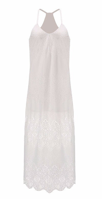 Lace Maxi Dress in White | Shop Elettra |