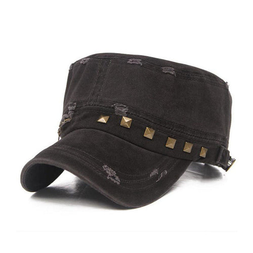 Windor Destroyed Studded Military Hat | Shop Elettra |