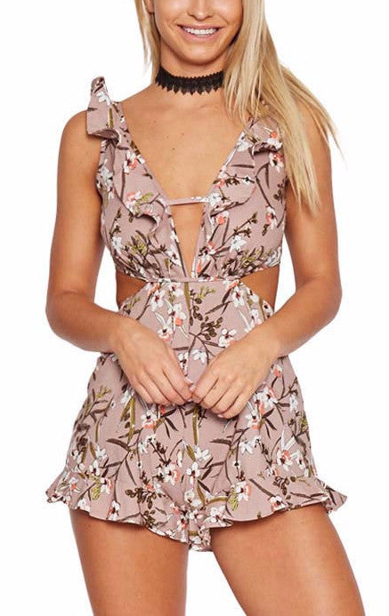 Backless Cutout Floral Romper | Shop Elettra |