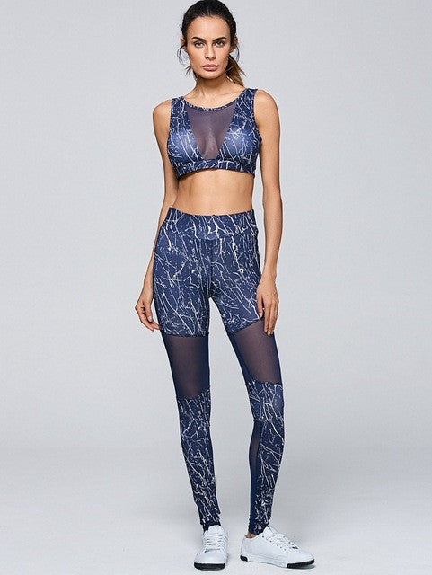 Maven Marble Mesh Sports Bra Legging Athletic Set | Shop Elettra |