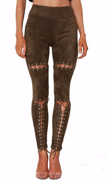 Kira Suede Lace Up Cut Out Skinny Pants | Shop Elettra |