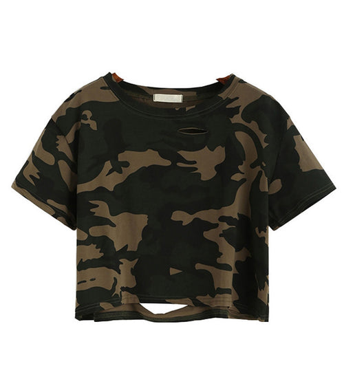 Camouflage Distressed Crop Top | Shop Elettra |