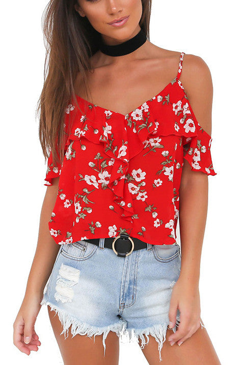 Trinity Floral Open Shoulder Top | Shop Elettra |
