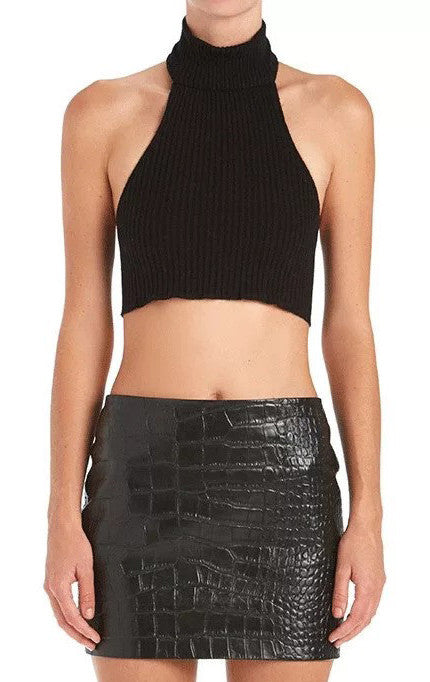 High Neck Backless Ribbed Crop Top | Shop Elettra |