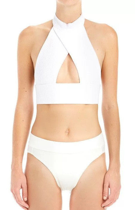Tamra High Neck Cut Out Backless Crop Top | Shop Elettra |