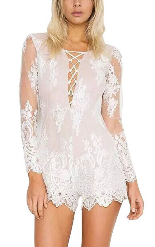 Marietta Lace Up Sheer Floral Romper | Shop Elettra |