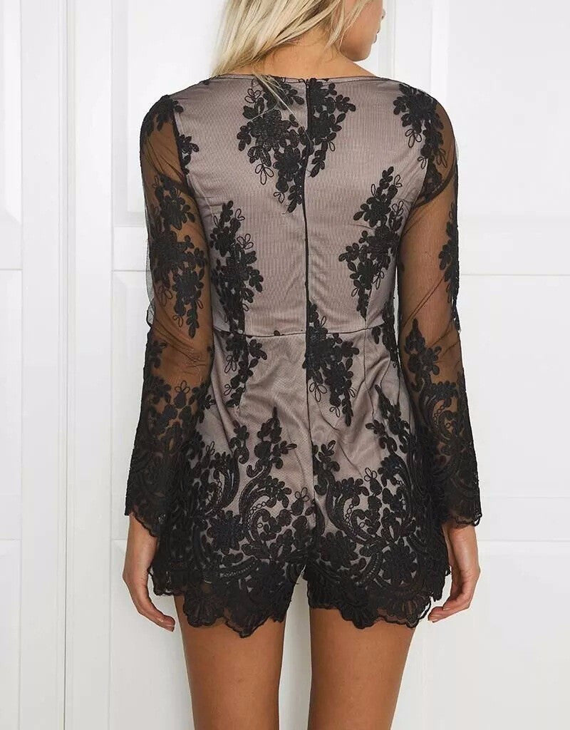 Lace Up Sheer Floral Romper | Shop Elettra |