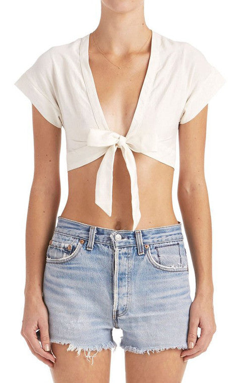 Greer Deep V Tie Crop Top | Shop Elettra |