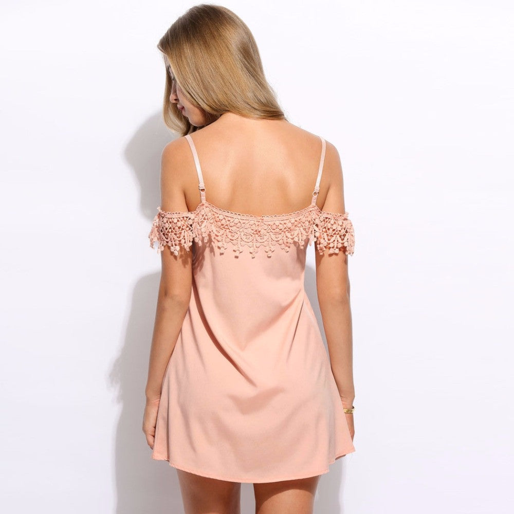 Meg Crochet Peach Mini Dress | Shop Elettra |