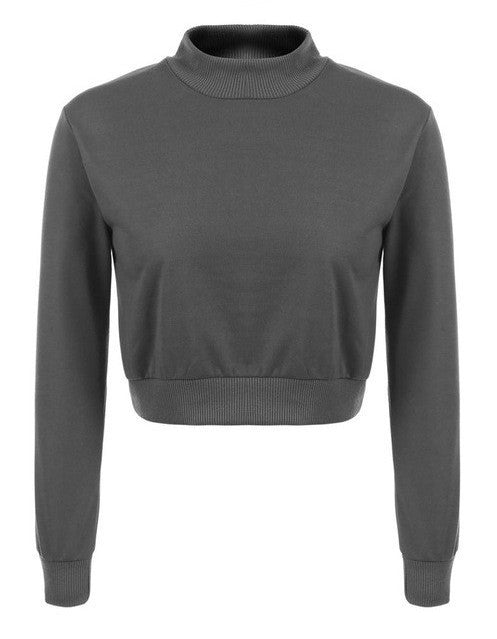 Long Sleeve Crop Top Sweatshirt | Shop Elettra |