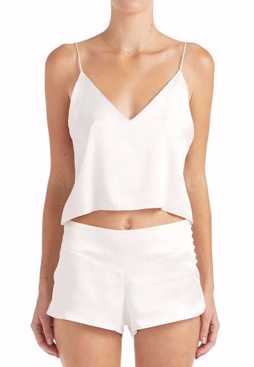 Geri Satin V Neck Cami Crop Top | Shop Elettra |