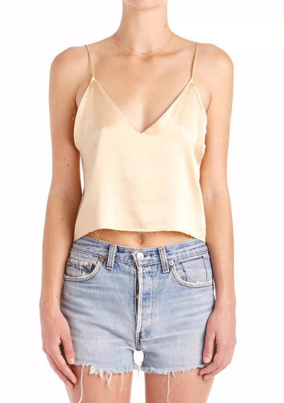 Satin V Neck Cami Crop Top | Shop Elettra |