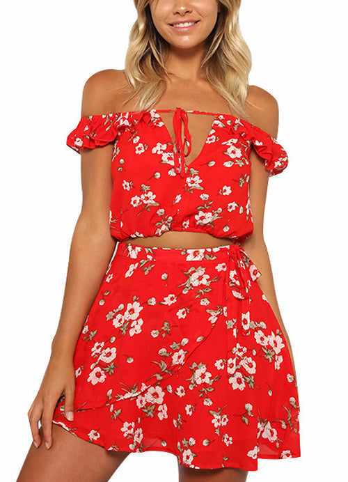 Red Floral Cropped Matching Set | Shop Elettra |