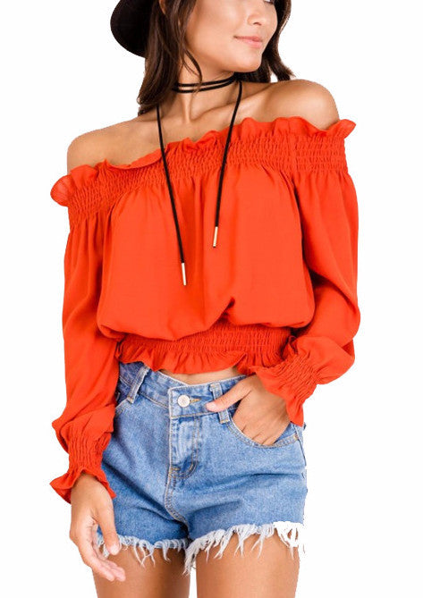 Lantern Off The Shoulder Ruffle Crop Top | Shop Elettra |