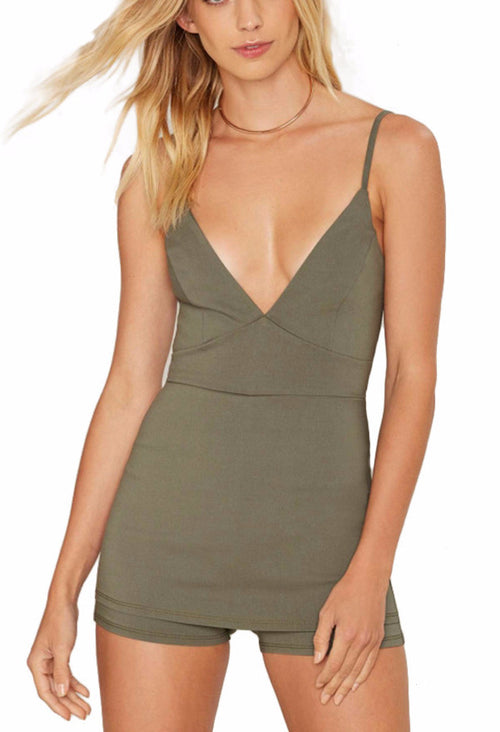 Deep V Army Green Romper | Shop Elettra |