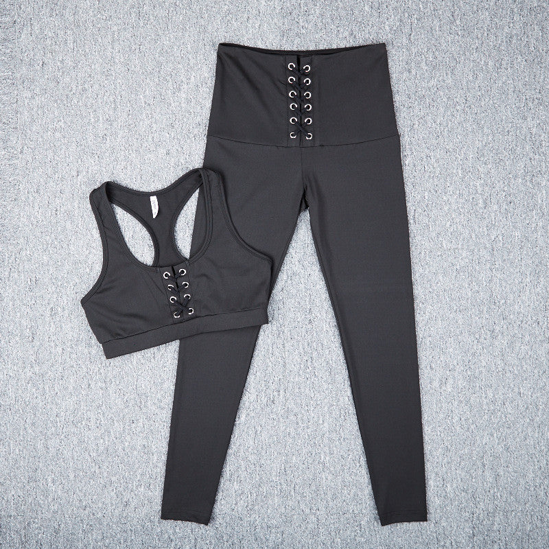 Lace Up Sports Bra Legging Activewear Set | Shop Elettra |
