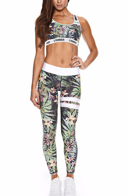 Tropical Printed Sports Bra Legging Set | Shop Elettra |