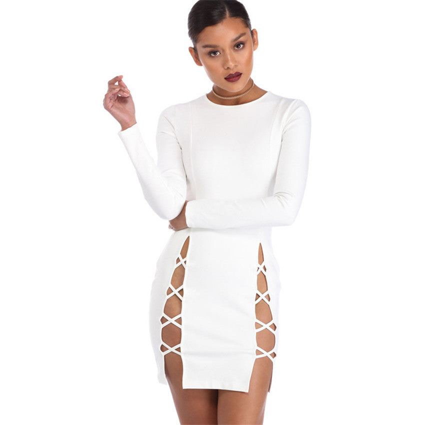 Stella Slit Lace Up Mini Dress | Shop Elettra |