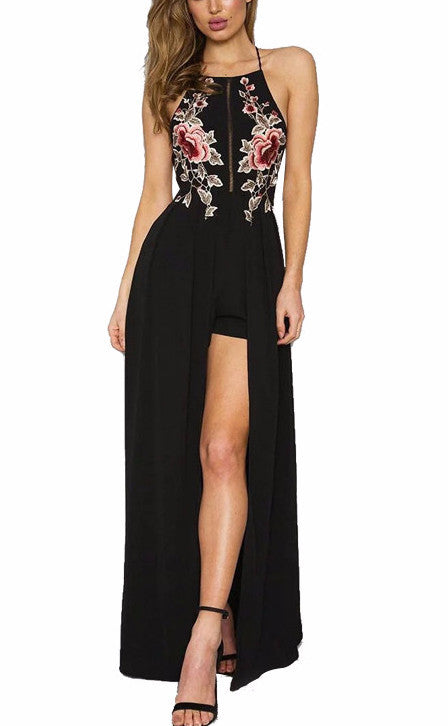 Embroidered Cross Back Slit Maxi Dress | Shop Elettra |