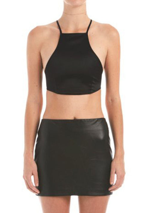Sia Satin Cross Back Crop Top | Shop Elettra |