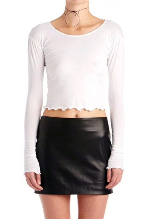 Long Sleeve Ruffle Trim Crop Top | Shop Elettra |
