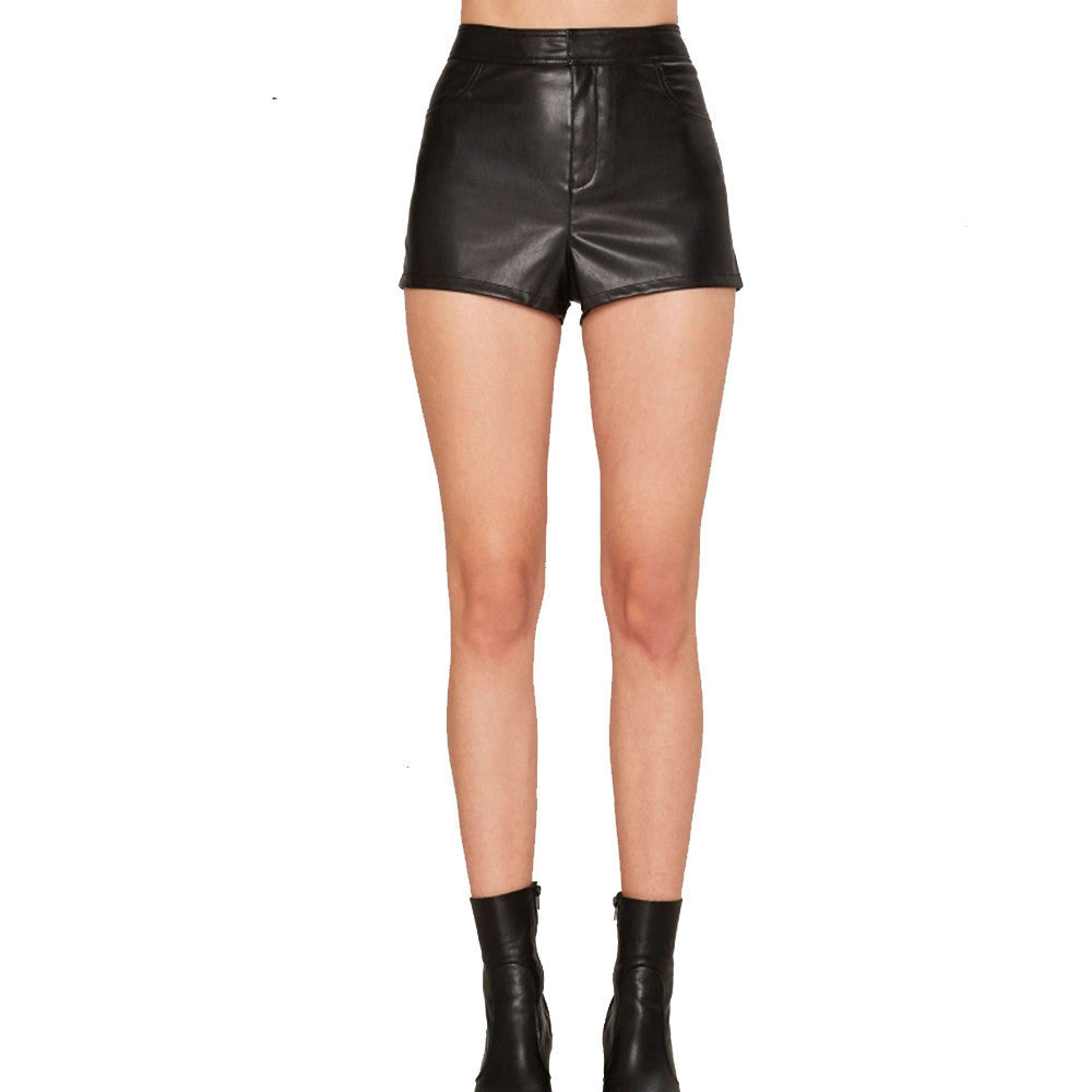 High Waisted Vegan Leather Shorts | Shop Elettra |
