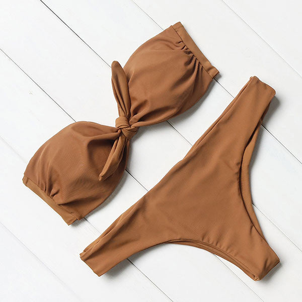 Bow Bandeau Cheeky Brazilian Bikini Set | Shop Elettra |