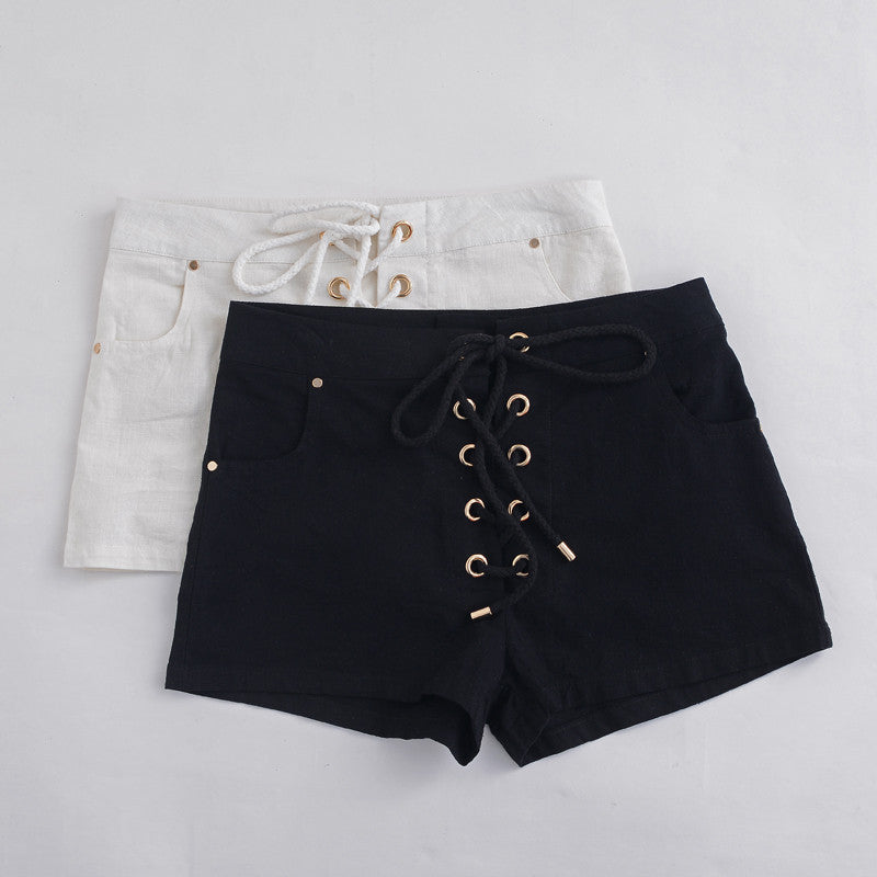 High Waisted Lace Up Shorts | Shop Elettra |