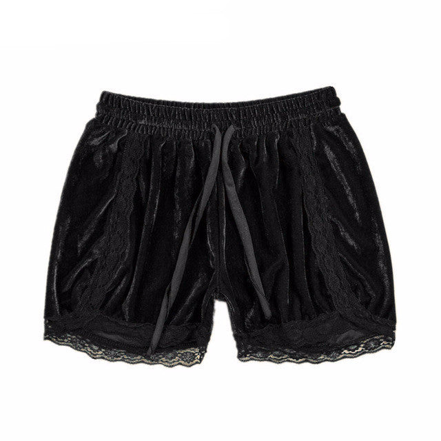 Velvet Soft Shorts with Lace | Shop Elettra |