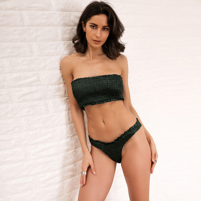 Smocked Strapless Brazilian Bikini Set - Green