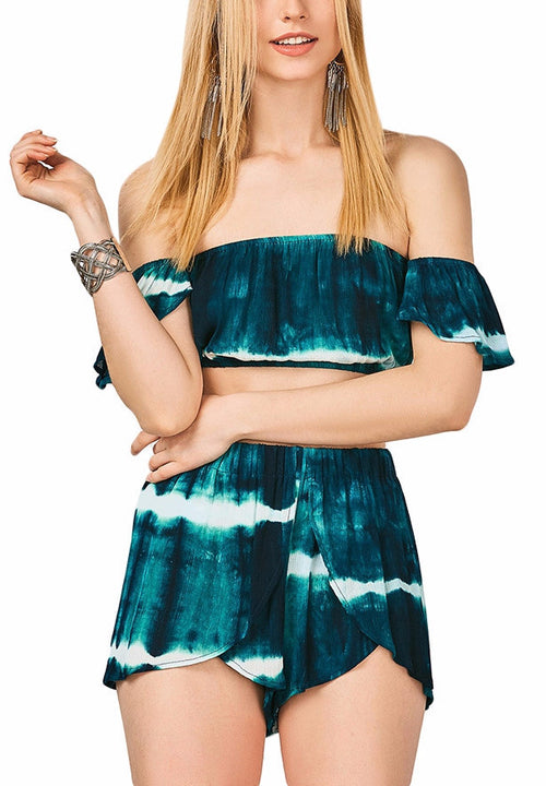 Tie Dye Off The Shoulder Crop Top Shorts Matching Set | Shop Elettra |
