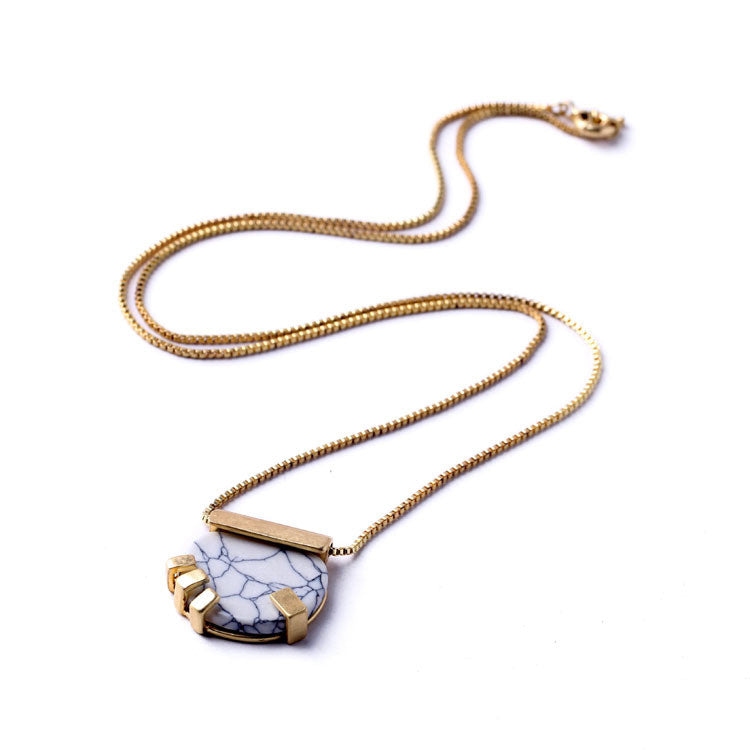 Marble Stone Gold Necklace | Shop Elettra |
