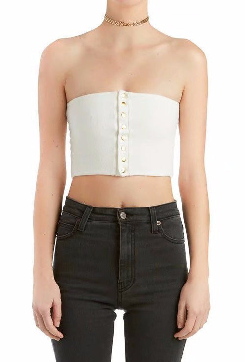 Button Down Tube Crop Top | Shop Elettra |