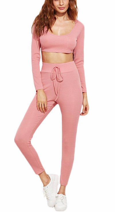 Pink Crop Top Legging Activewear Set