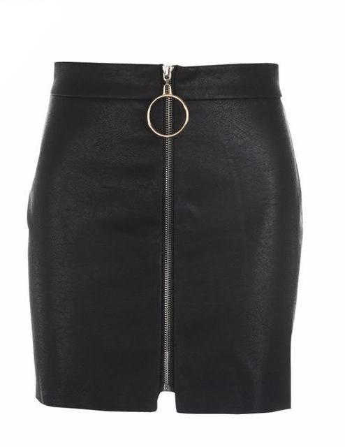 High Waist Zipper Mini Skirt in Black