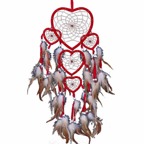 Heart Trio Feather Dreamcatcher | Shop Elettra |