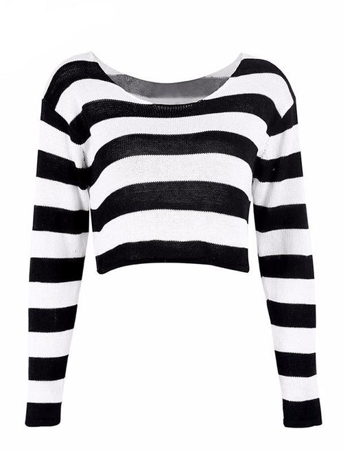 Black and White Striped Knit Crop Top Sweater