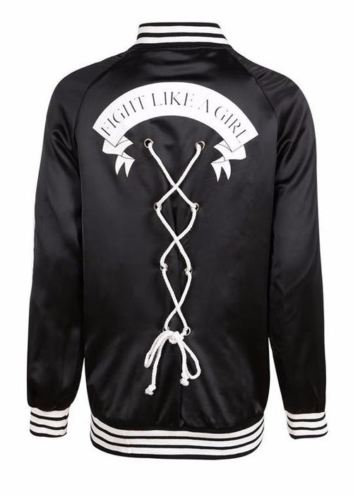 Fight Like a Girl Lace Up Bomber Jacket