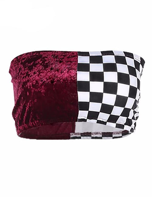 Checkerboard and Velvet Patch Bandeau Crop Top