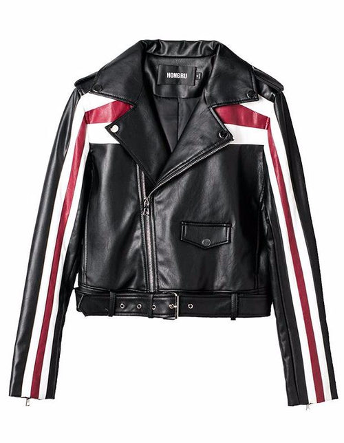 Black and Red Stripe Moto Jacket