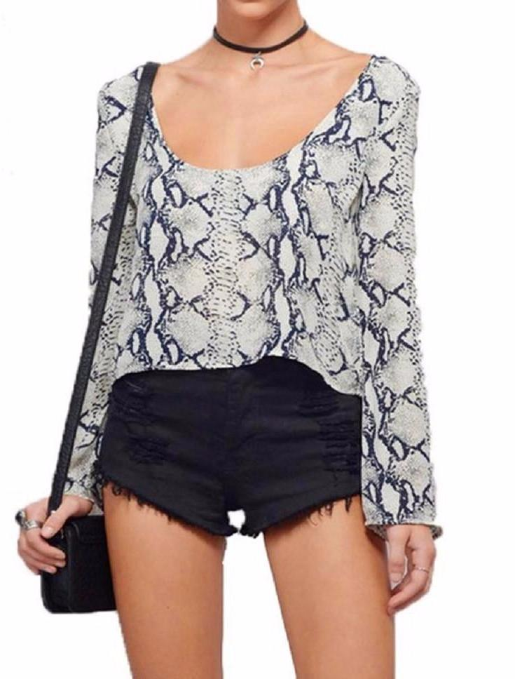 Python Snake Print Long Sleeve Scoop Crop Top | Shop Elettra |