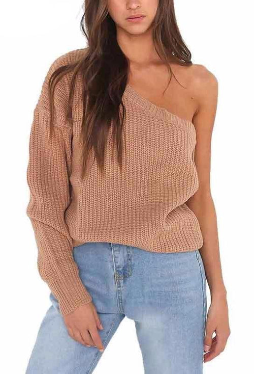 One Shoulder Snit Sweater