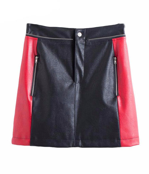 High Waist Black and Red Leather Mini Skirt