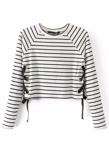 Lace Up Striped Sweater