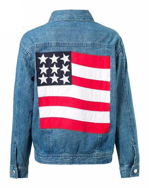 USA American Flag Denim Jacket | Shop Elettra |