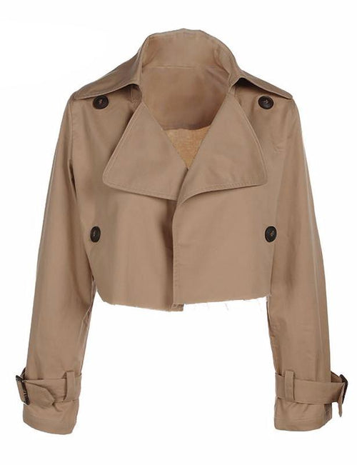 Cropped Trench Coat Jacket