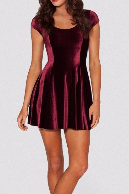 You're Mine Velvet Skater Mini Dress | Shop Elettra |