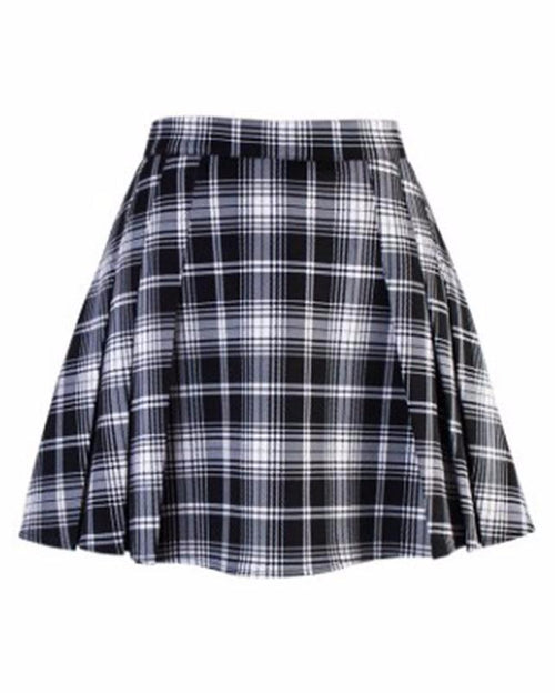 High Waist Pleated Plaid Mini Skirt