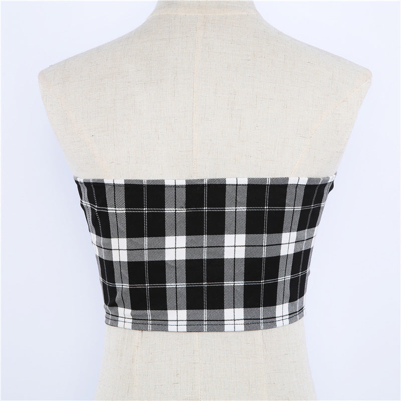 Plaid Buckle Tube Crop Top
