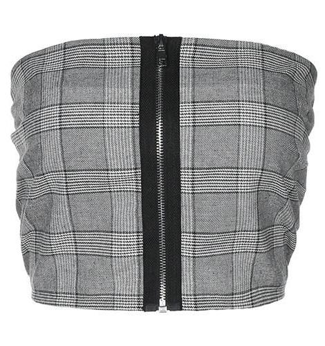 Lana Strapless Plaid Zipper Crop Top Bandeau